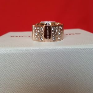 BRAND NEW MICHAEL KORS ROSE GOLDTONE CZ RING 8
